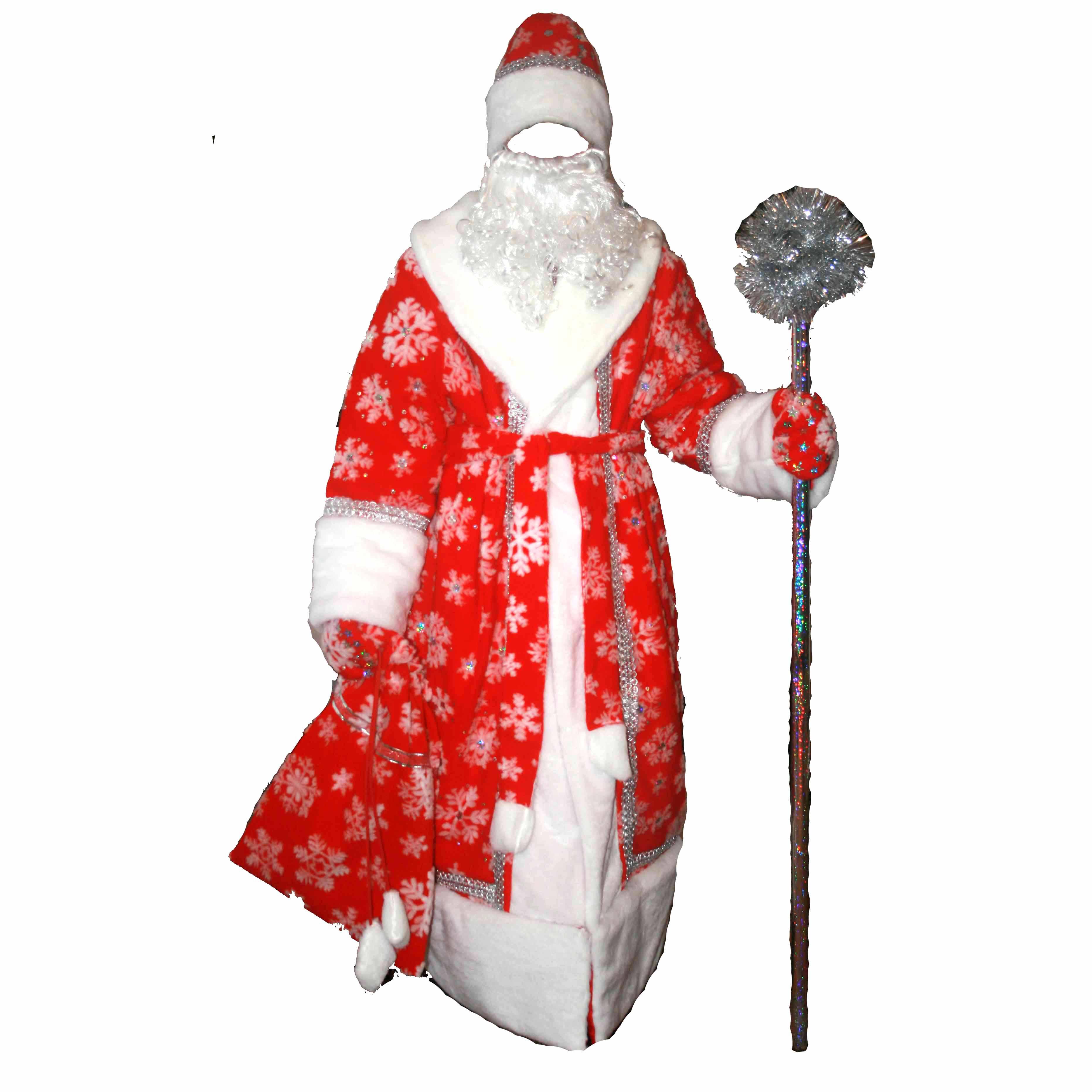 Костюм Деда Мороза в снежинки